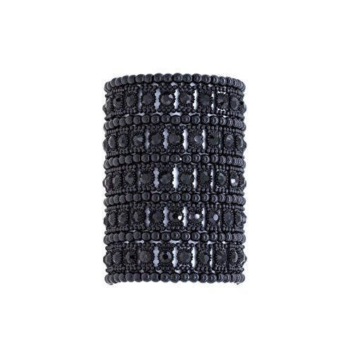- Lavencious 5 Rows Stretch Bracelet Crystals Fashion Trendy Jewelry Party Prom for Women (Black Jet)