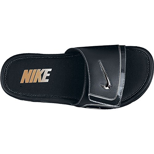 Nike Mens Comfort Slide 2 Sandal (13, Black/Metallic Silver/White) by NIKE (Image #1)
