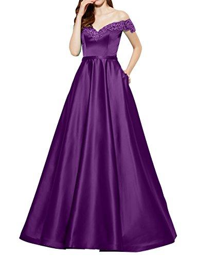 Brautmutterkleider Schulterfrei A La Abschlussballkleider Lang Partykleider Kurzarm Abendkleider Brau mia Satin Violett Linie vqqY8Epw