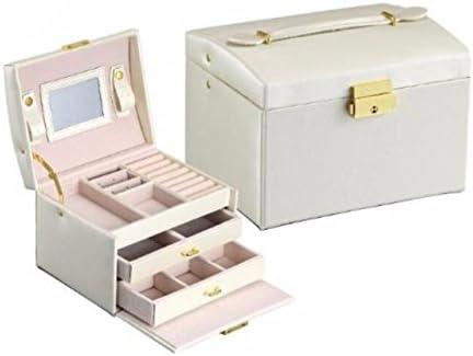 ジュエリーボックス 大容量 アクセサリケース ジュエリー収納 コスメボックス シルク調 (ホワイト)