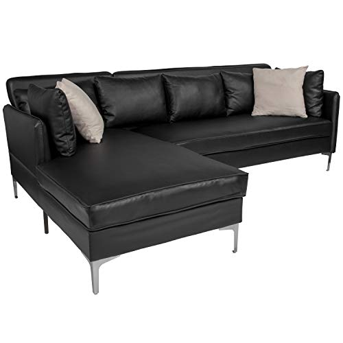 - Flash Furniture Back Bay Upholstered Accent Pillow Back Sectional with Left Side Facing Chaise in Black Leather