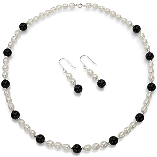 (La Regis Jewelry Sterling Silver 6-6.5mm White Freshwater Cultured Pearls 8mm Simulated Black Onyx Necklace)