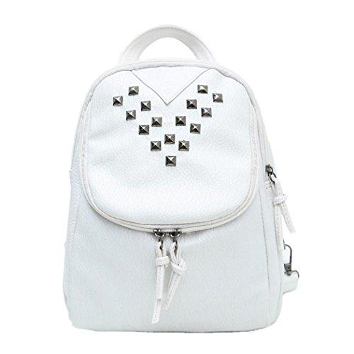 Backpack Bag Rivet PU Skull Womens Black Women Girl - 8