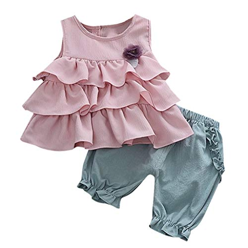 FEITONG Baby Clothes, Toddler Kids Baby Girls Ruffles Flowers Tops Solid Ruched Shorts Pants Outfits Pink -