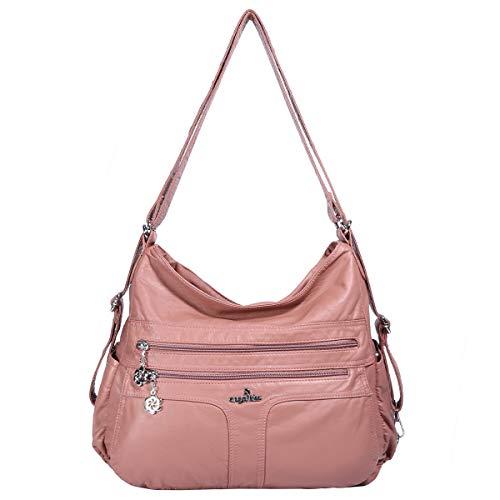 - Angelkiss Women's Multifunctional Shoulder Hobo Bag Soft Leather Messenger Crossbody Purse Satchels Handbags with Zipper Pink