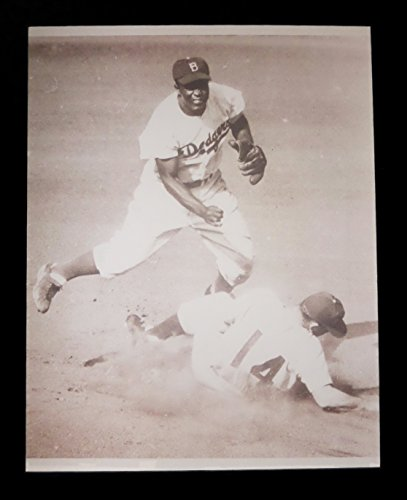 JACKIE ROBINSON & BROOKLYN DODGERS TURNING DOUBLE PLAY 11x14 SEPIA PRO PHOTO