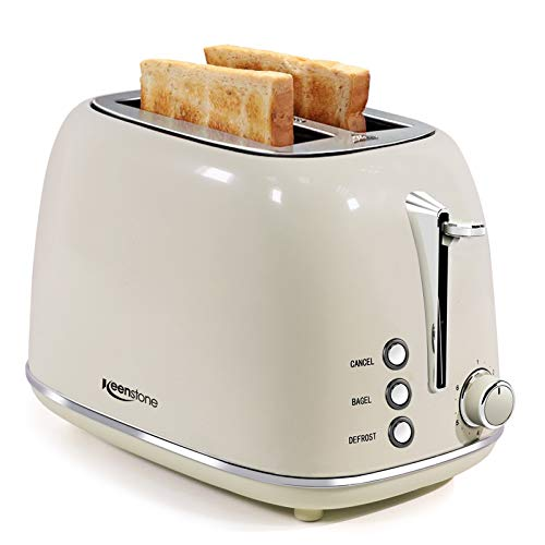 Toasters 2 Slice Retro Stainless Steel Toasters with Bagel, Cancel, Defrost Function and 6 Bread Shade Settings Bagel…