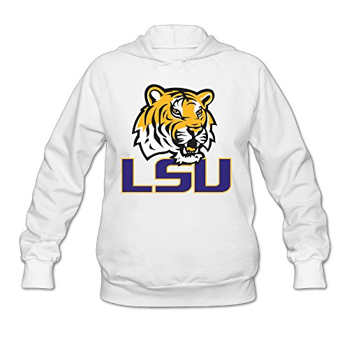 [Wesley LSU Tiger Logo Wen's Soft Hoodie White S] (Lsu Mascot Costume)