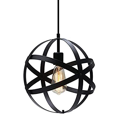 KingSo Industrial Metal Pendant Light, Spherical Pendant Light, Black Hanging Metal Globe Ceiling Light Fixture for Kitchen Island Dining Room Bedroom Farmhouse Entryway Foyer Table Hallway