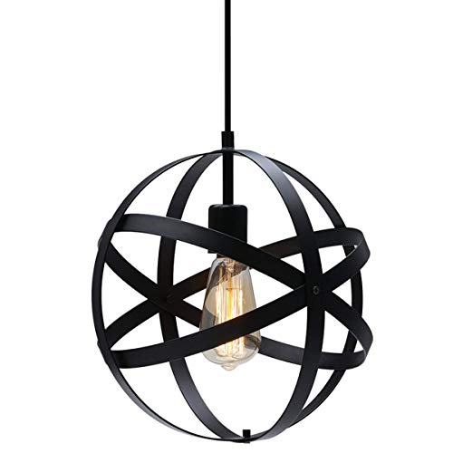 KingSo Industrial Metal Pendant Light, Spherical Pendant Light, Rustic Chandelier Vintage Hanging Cage Globe Ceiling Light Fixture for Kitchen Island Dining Room Farmhouse Entryway Foyer Table Hallway