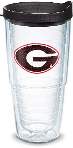 Tervis 1042249 Georgia Bulldogs Logo Tumbler with Emblem and Black Lid 24oz, Clear ()