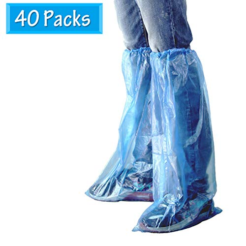 HUABEI 40 Packs Disposable Shoe Covers Blue Rain Shoes and Boots Cover Plastic Long Shoe Cover Clear Waterproof Anti-Slip Overshoe for Women Men Water Boots Cover Rainy Day Use Cover