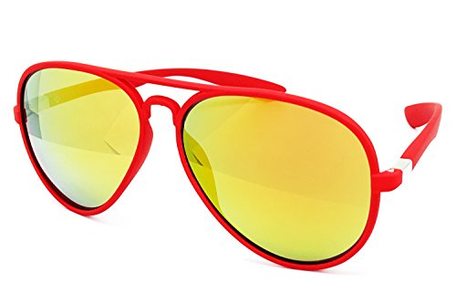 O2 Eyewear 539 Soft Matte Finish Mirror Aviator Vintage Hippie Retro Candy Revo Flat Top Sunglasses (Matte Finish, GOLD/ RED FRAME)