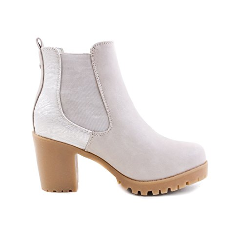 Stylische Damen Ankle Chelsea Boots Stiefeletten mit Blockabsatz in hochwertiger Lederoptik Grau Rom