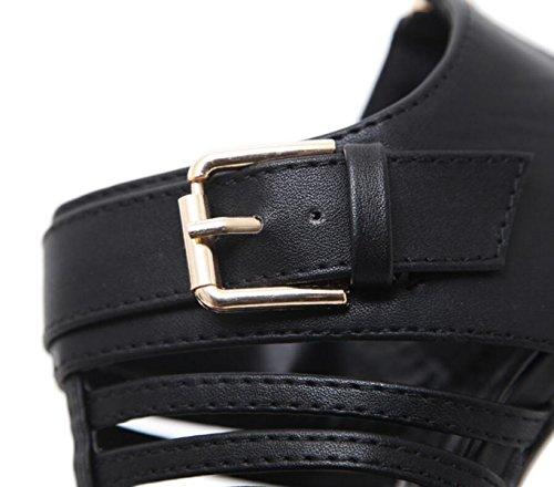 Casual Zapatos Tacones Las Black Daily Mujeres Aguja Party Toe Albaricoque De Open Gladiador IwrPIT
