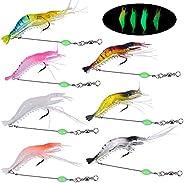 Dokpav 7 Pieces Luminous Shrimp Fishing Lure, Mixed Color Soft Plastic Lures with Hook Fishing Tackles, Artifi