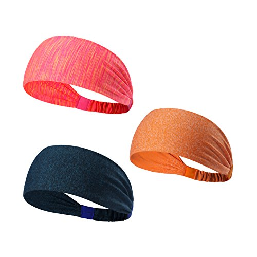 We Move Headbands for Men Women and Girls 3PCS/6PCS Stretchy Sweatband for Out Door Sports/Running/Yoga/Fitness/Cycling (3PCS-Stripe Pink/Blackish Green/Orange)