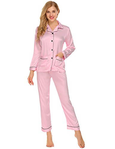 t Women's Long Sleeve PJS Christmas Gift for Mother Pyjama (Satin Striped Button)