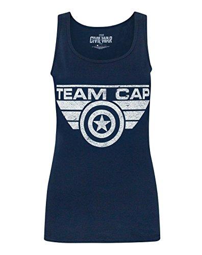 Captain America Civil War Team Cap Distressed Women's Tank Top (XL) Civil War Clothing Women