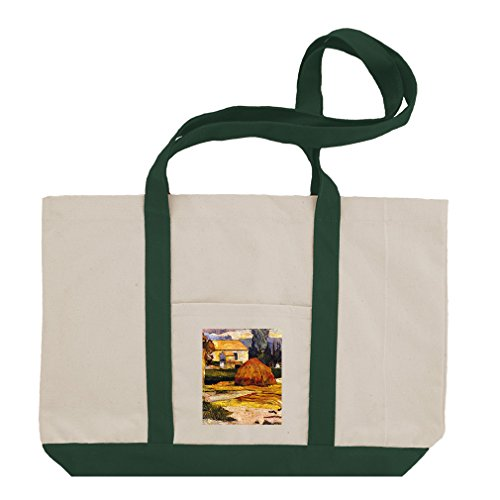 Landscape, Arles (Gauguin) Cotton Canvas Boat Tote Bag Tote - Green (Canvas Arles)