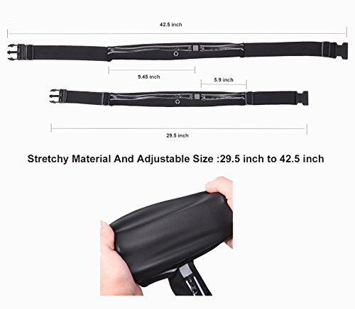 Running Belt – Fanny Pack –Fitness Companion, iPhone X, 6, 7, 8 Plus Pouch for Runners Waterproof, Invisible, Close Fitting, Multifunctional Waist Pack