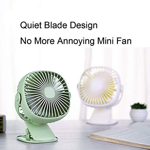 Battery Operated Clip on Stroller Fan with Light- Mini Portable Desk Fan with Rechargeable Battery Powered Fan for Baby Stroller, Outdoor Activities (Green) by GuanZo (Image #3)