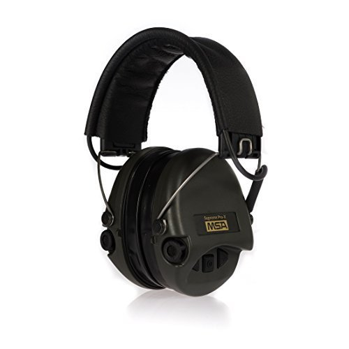 (MSA Sordin Supreme Pro X - Premium Edition - Electronic Earmuff with black leather band, green cups and gel seals fitted)