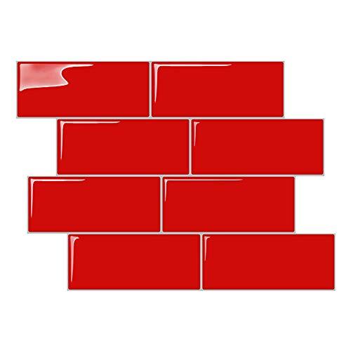 STICKGOO Peel and Stick Subway Tile, Stick on Tiles Backsplash Kitchen & Bathroom 5 Sheet (Red, Thicker Design)