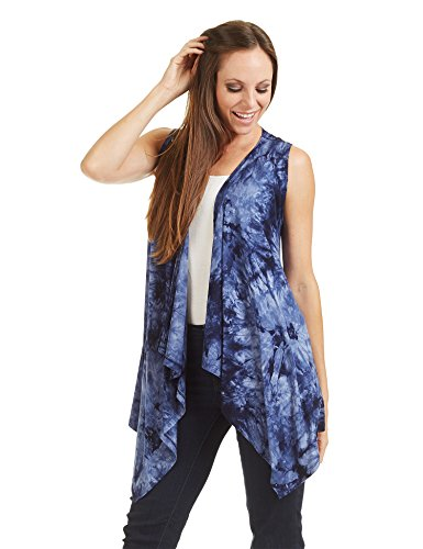 8b71ac3e6c5b66 Made By Johnny MBJ WSK1094 Womens Lightweight Sleeveless Tie Dye Open Front  Drape Cardigan S Navy