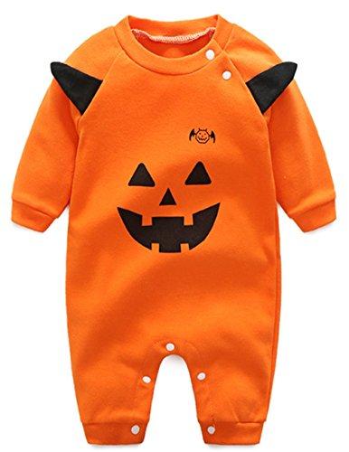 MNLYBABY Baby Boys Girls Hallowen Costume Pumpkin Bodysuit Romper with Hat size 18-24 Months (Baby Hallowen)