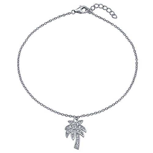 Tropical Palm Tree CZ Dangle Charm Anklet Link Cubic Zirconia Ankle Bracelet For Women 925 Sterling Silver 9-10 Inch ()