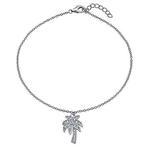 Pave CZ Palm Tree Charm Anklet Bracelet 925 Sterling (Pave Palm Tree)