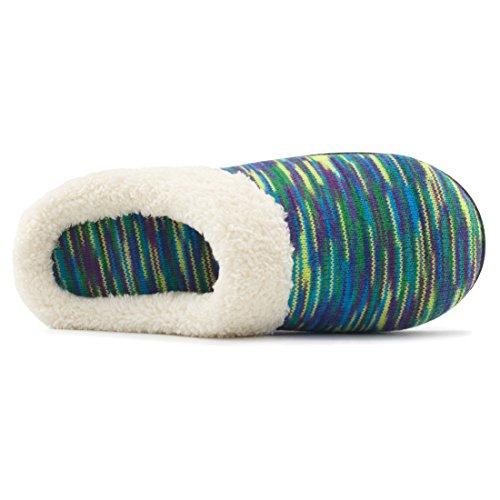 Pantofole In Lana Con Memory Foam Da Donna Rockdove, Scarpe Da Casa Lavabili Con Suola Esterna Interna Blu Royal