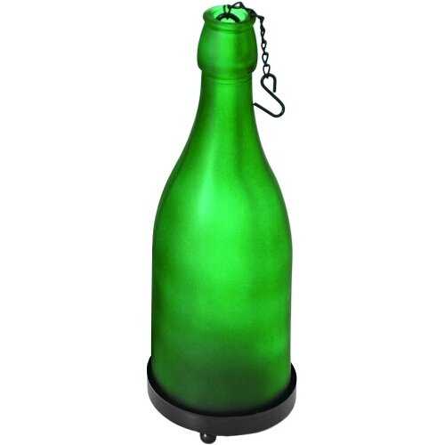 True Fabrications Green Glass Hanging Wine Bottle Candle Holder
