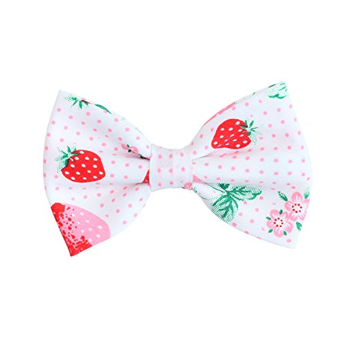 THE DOK Strawberry – Dog Cat Pet Bow Tie Bowtie Collar Accessory 4 inch