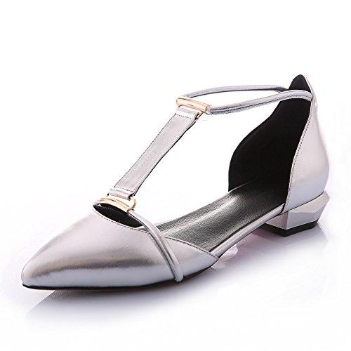 Balamasa Donna Elastico Vuoto Fibbia Pelle Di Mucca Pompe-scarpe Argento