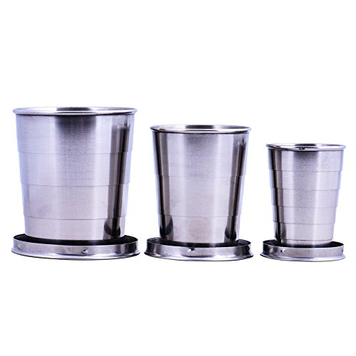 Wuudi Stainless Steel Portable Collapsible Telescopic Travel Picnic Cup 3x