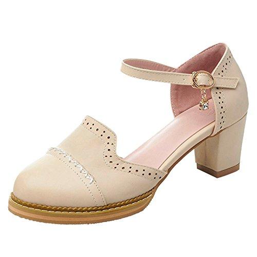 Carolbar Womens Sweet Lolita Buckle Mid Heel Mary Janes Sandals Beige AiPIK