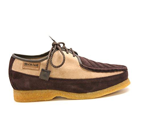 British Collection Mens Crown Lace-up shoe, Lavender/Beige Suede, 10 M Beige/Brown Suede