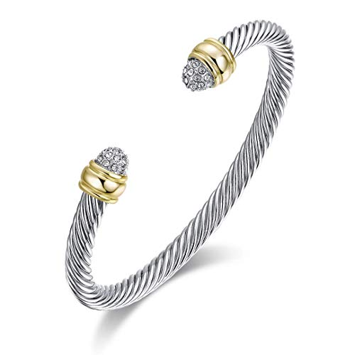 Ofashion Two Tone Cable Bangle Antique Cuff Bracelet with Zircon Inlaid Ends ()
