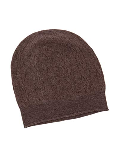 LEBAC 100% Cashmere Cable Knit Beanie Hat Brown