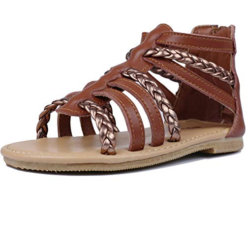 (MuyGuay Toddler Girls Gladiator Sandals with Braided Strappy Girls Sandals Summer Shoes with Zipper for Baby Girls/Little Girls (11 M US Toddler, Brown))