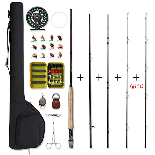 (NetAngler Fly Fishing Rod and Reel Combo 4-Piece Fly Fishing Rod 5wt Aluminum Fly Reel 28 Pieces Flies Kit with Free Rod Tip,Backing,and Cloth Carry Bag)