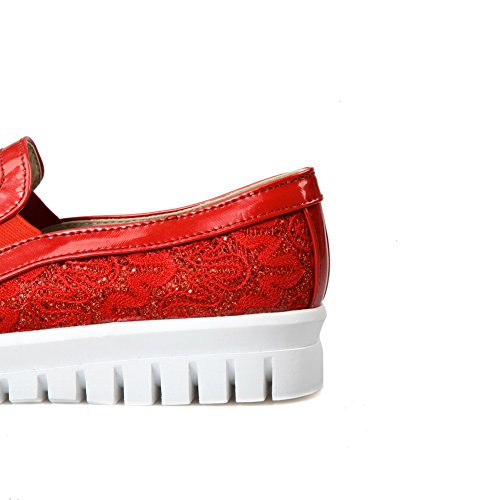 Balamasa Dames Ronde Neus Antislip Polyester Pumps-schoenen Rood