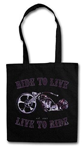 LIVE TO RIDE Hipster Shopping Cotton Bag Cestas Bolsos Bolsas de la compra reutilizables - Hijos Ride To Live Biker Moto Sons Rider SAMCRO Rocker Club SOA de la anarquía Anarchy