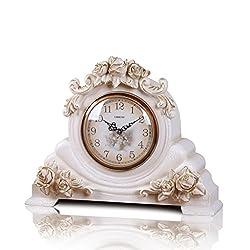 Clock LANNA SHOP- Retro Mantel/Mantle Rhythm Quartz living room desk shelf Decoration (Color : White)