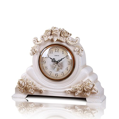 Clock LANNA SHOP- Retro Mantel/Mantle Rhythm Quartz living room desk shelf Decoration (Color : White) For Sale