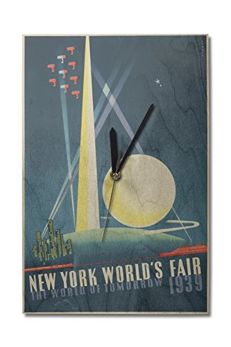 1939 Worlds Fair Poster - New York World's Fair 1939 - The World of Tomorrow Vintage Poster (Artist: Binder) USA c. 1939 (10x15 Wood Wall Clock, Decor Ready to Hang)