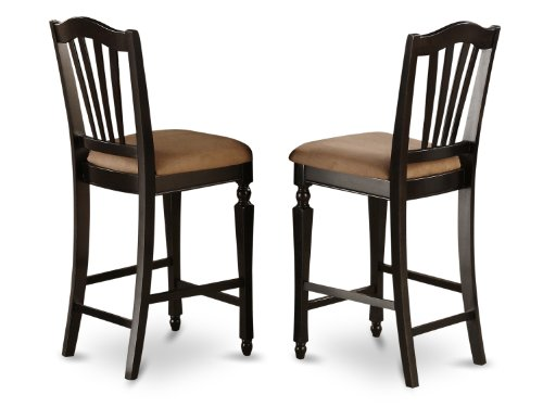 East West Furniture CHS-BLK-C Stool Set with Upholstered Seat, Black Finish, Set of 2