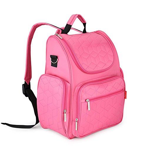 lifenewbaby bolso cambiador grande mochila de viaje momia bolsa de pañales Set con aislamiento bolsillos + Pañales Pad + correas para el carrito verde verde Talla:39*31*15cm rosa